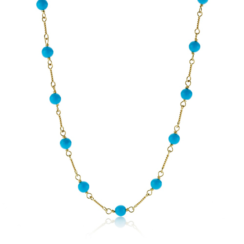 Small Turquoise Bead Long Chain Necklace