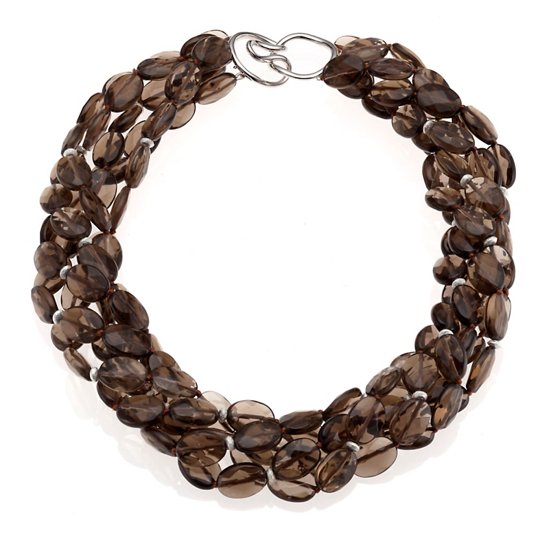 Gump's Five-Strand Smokey Quartz & Silver Twist Necklace