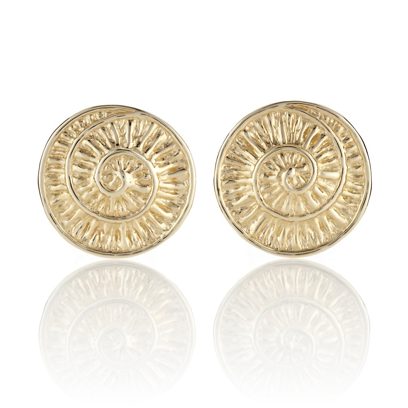 Gold Textured Sea Shell Disc Earrings