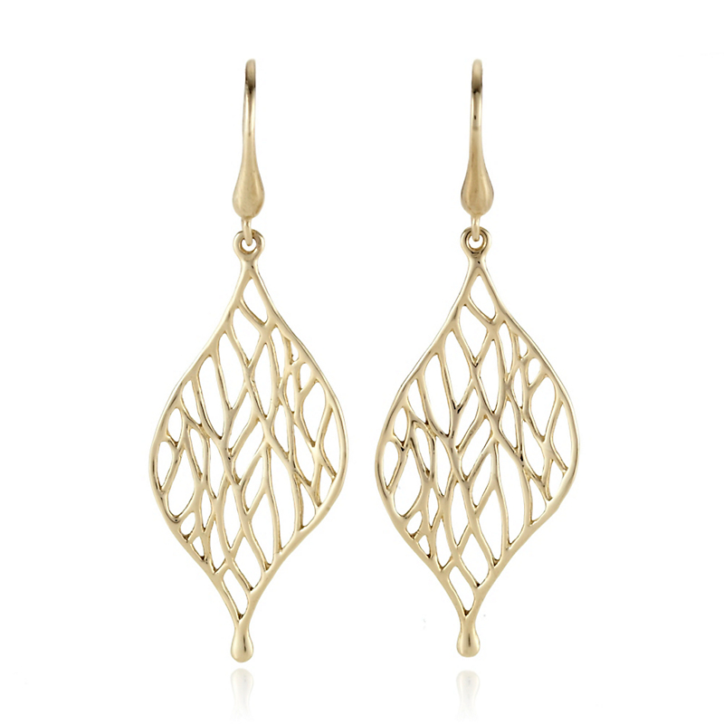 Gold Openwork Leaf Drop Earrings