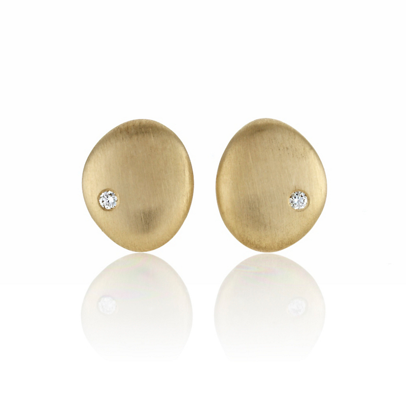 Brushed Gold With Diamond Stud Earrings