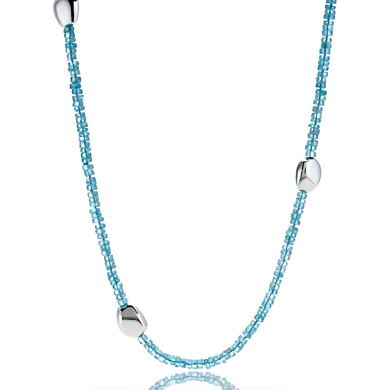 Gump's Apatite & Silver Pebble Station Rope Necklace
