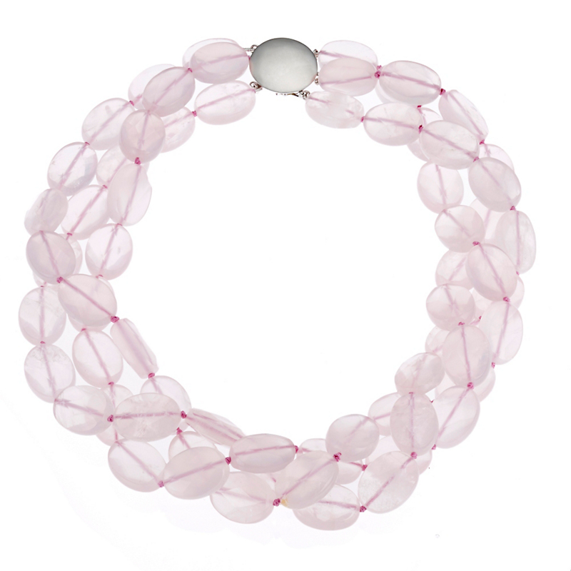 Gump's Three-Strand Faceted Oval Rose Quartz & Silver Twist Necklace