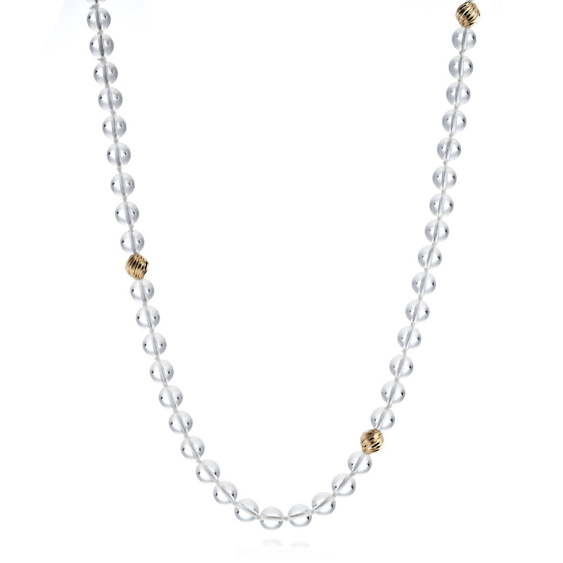 Gump's Rock Crystal & Gold Swirl Rope Necklace