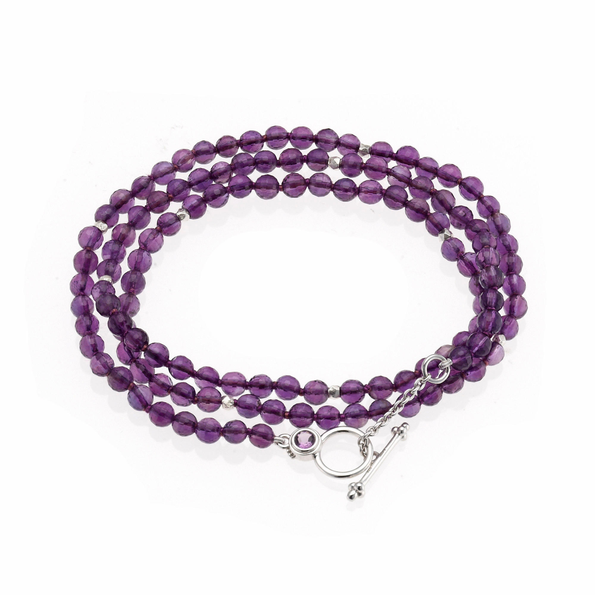 Gump's Faceted Amethyst Necklace/Wrap Bracelet With Amethyst Toggle Clasp