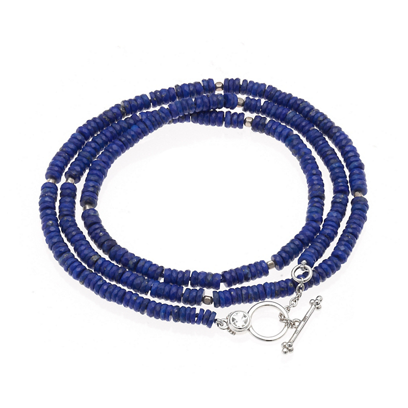 Gump's Faceted Lapis Necklace/WrapBracelet With Clear Quartz Toggle Clasp