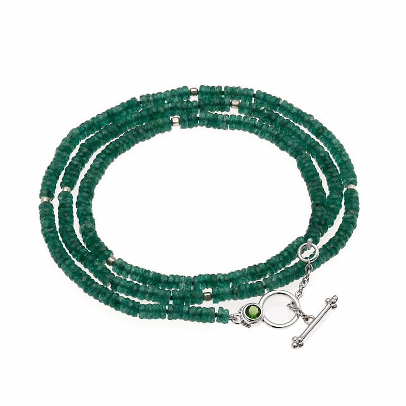 Gump's Faceted Aventurine Necklace/Wrap Bracelet With Toggle Clasp