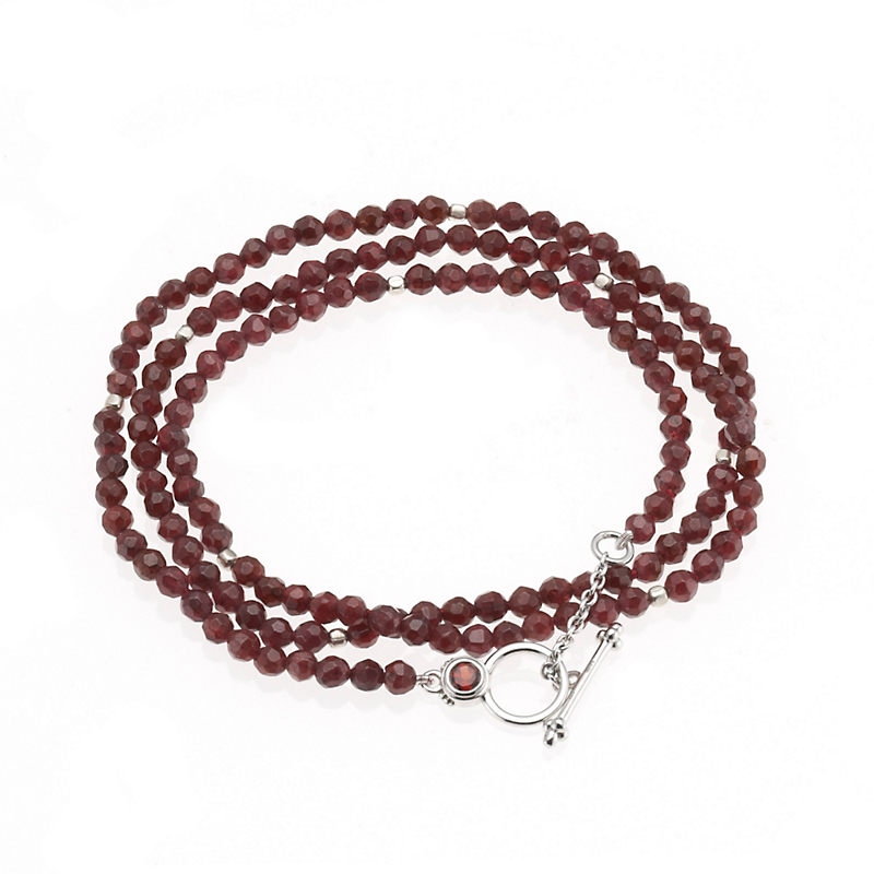 Gump's Faceted Garnet Necklace/Wrap Bracelet With Toggle Clasp