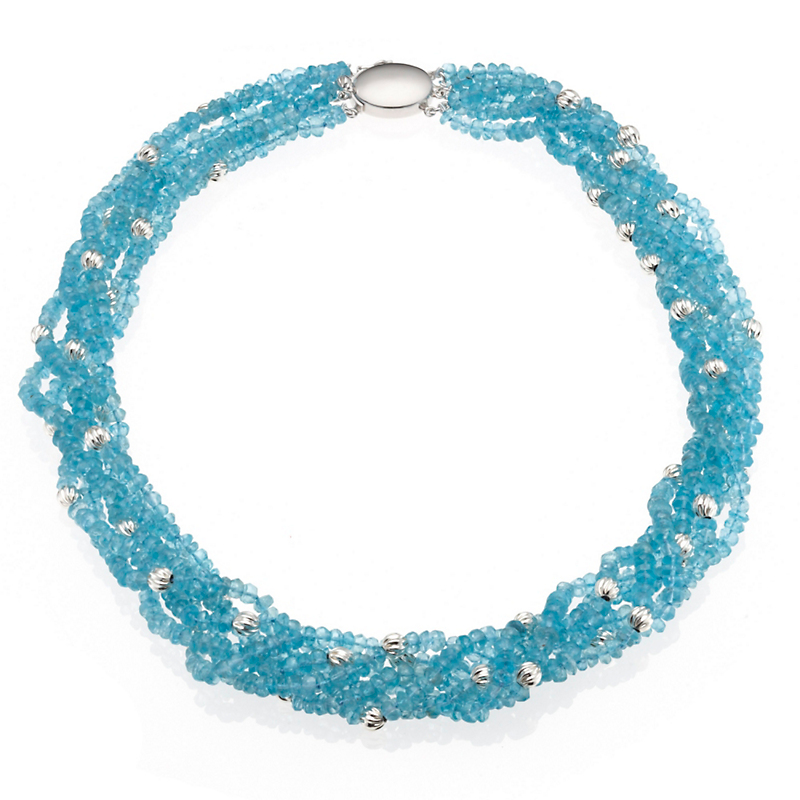 Gump's Faceted Apatite & Silver Twist Necklace