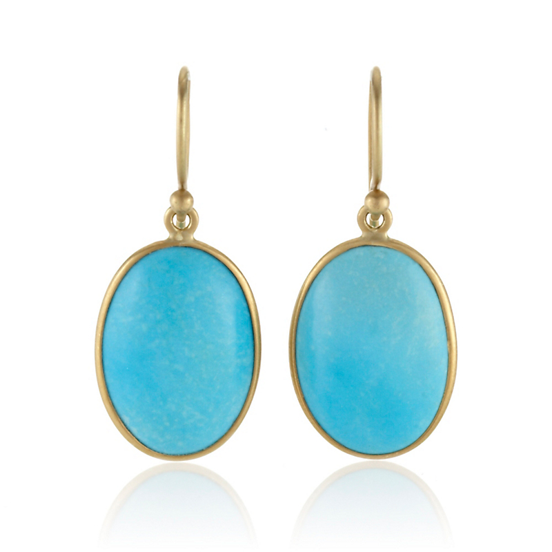 Kothari Small Turquoise Oval Drop Earrings