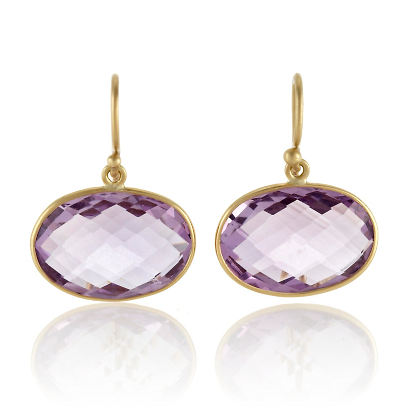 Kothari Faceted Amethyst Horizontal Oval Earrings