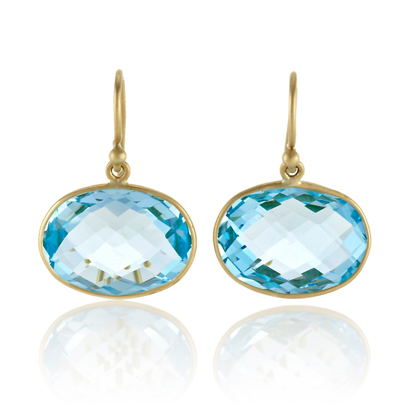 Kothari Faceted Blue Topaz Horizontal Oval Earrings