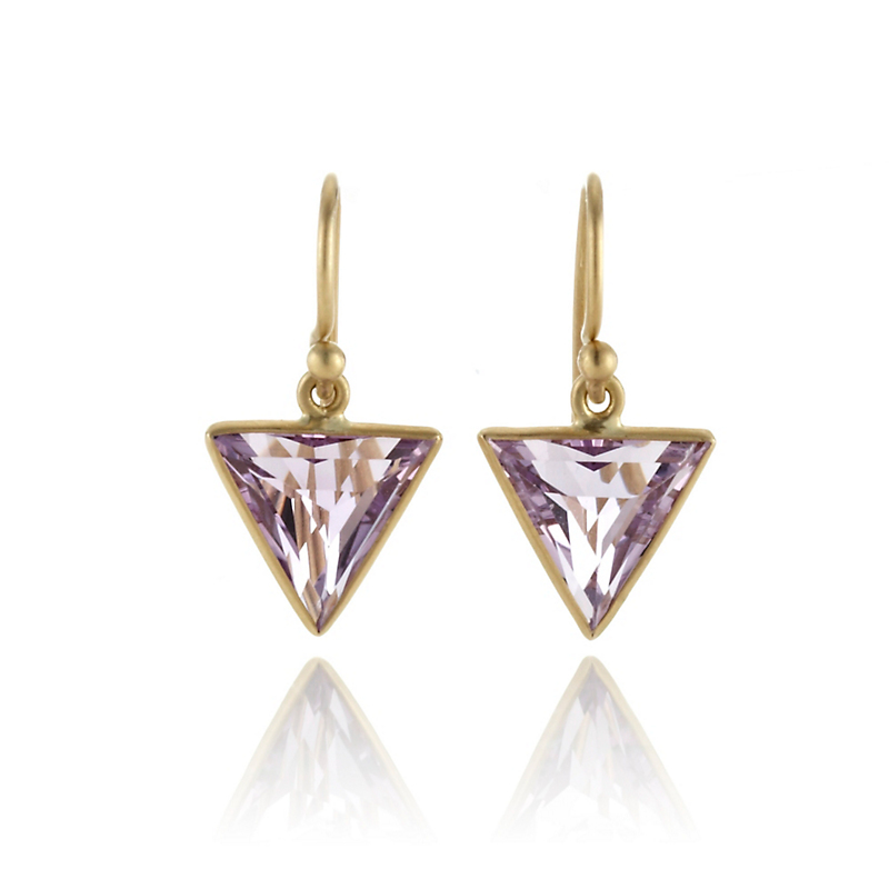 Kothari Small Faceted Amethyst Triangle Drop Earrings