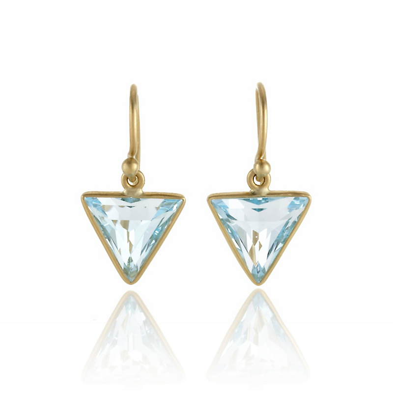 Kothari Small Blue Topaz Triangle Drop Earrings