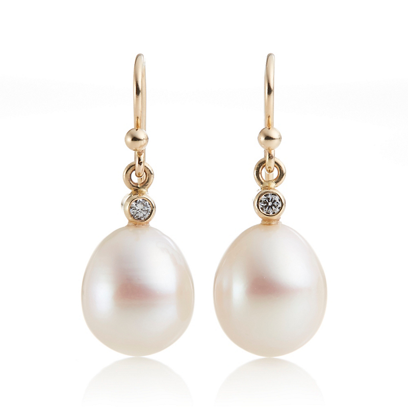 Gump's Diamond & Freshwater Pearl Teardrop Earrings