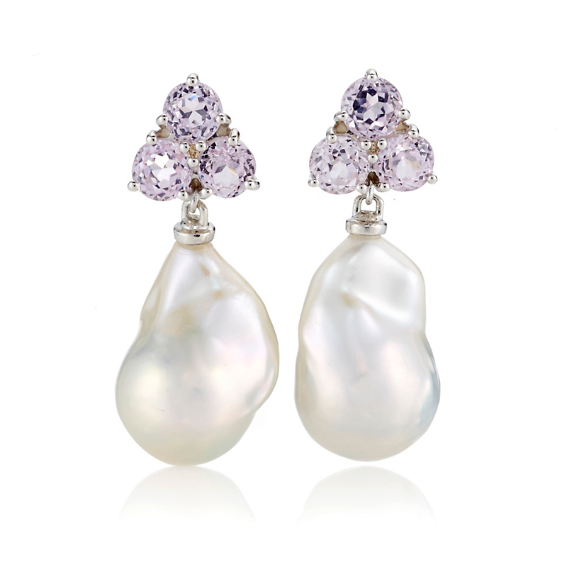 Gump's Kunzite Cluster & Baroque Pearl Silver Drop Earrings