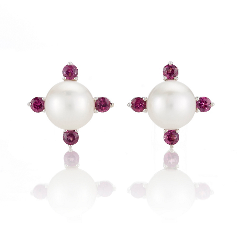 Gump's Pearl & Rhodolite Garnet Four Point Earrings
