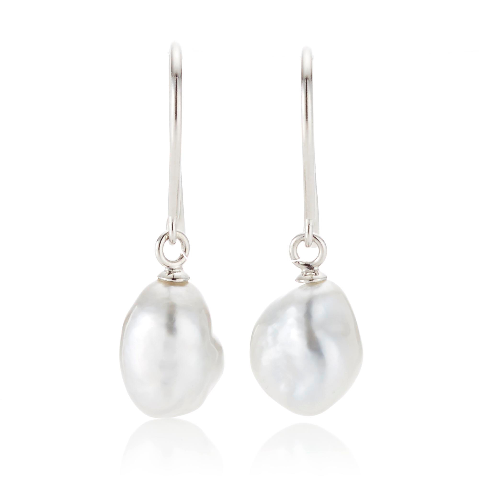 Gump's Keshi South Sea Pearl White Gold Drop Earrings, 6 x 9mm