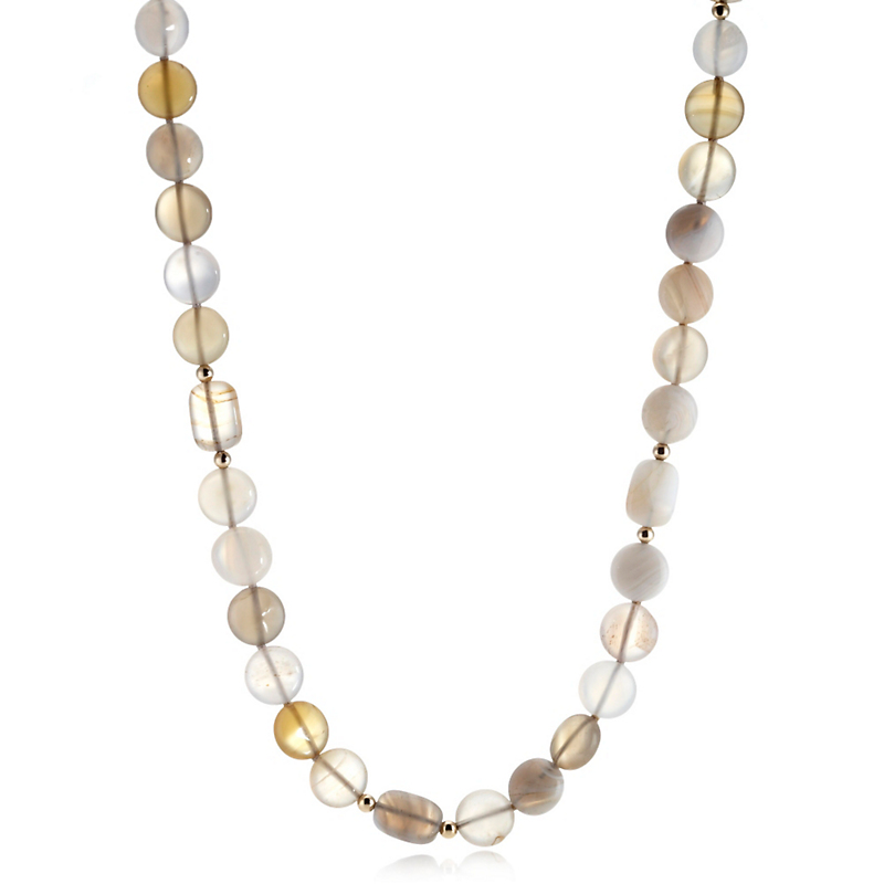 Gump's Round Agate Yellow Gold Rope Necklace