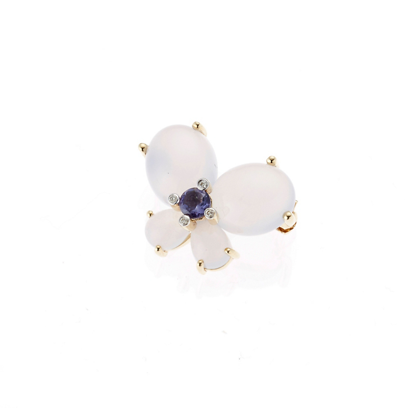 Chalcedony & Iolite Butterfly Pin