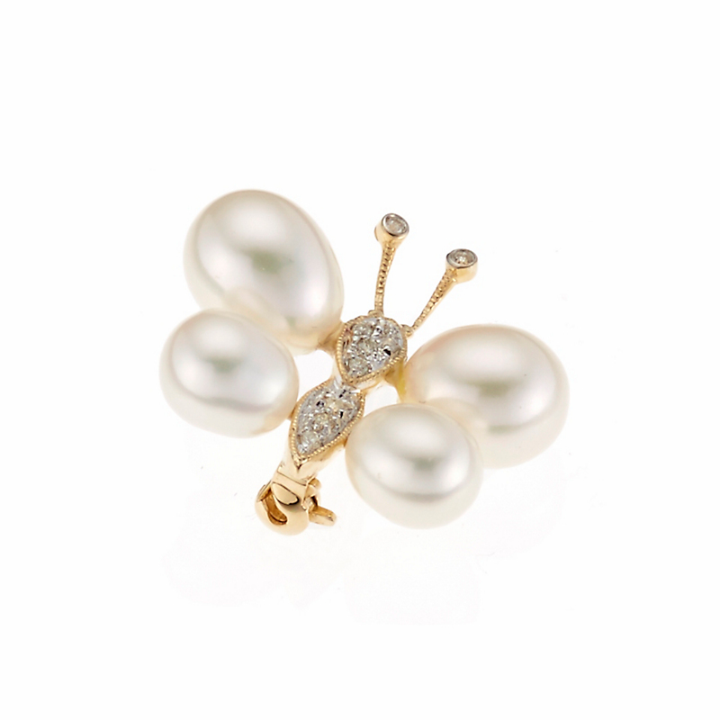 Pearl and Diamond Butterfly Brooch