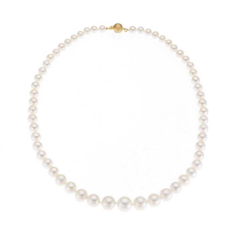 Gump's Graduated Round Freshwater Pearl & Gold Necklace