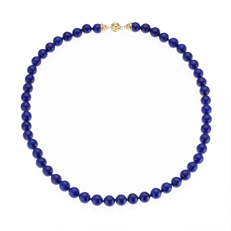 Gump's Lapis Bead Fluted Necklace