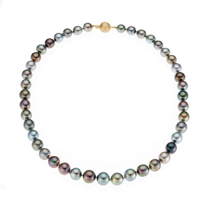 Gump's Graduated Tahitian Pearl and Gold Necklace