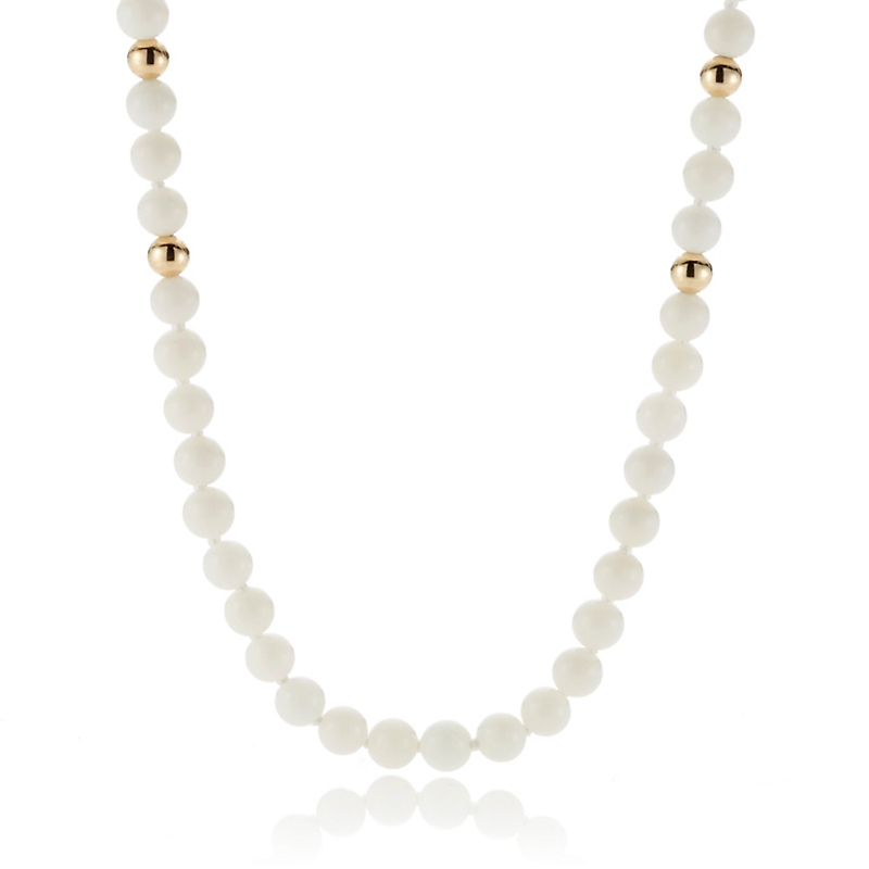 Gump's Small White Coral & Gold Bead Rope