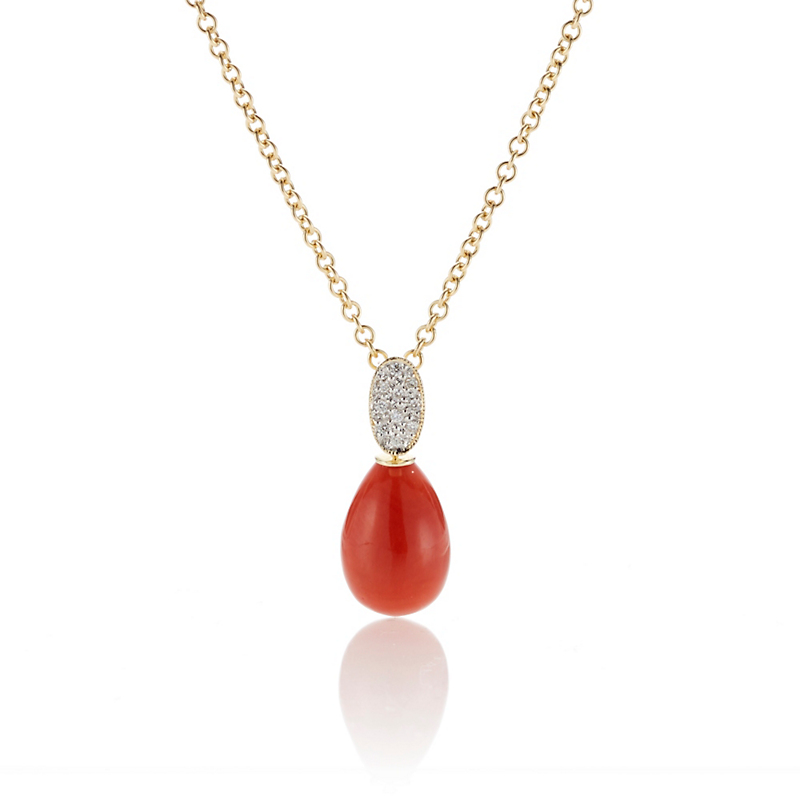 Gump's Pavé Diamond & Red Coral Drop Pendant