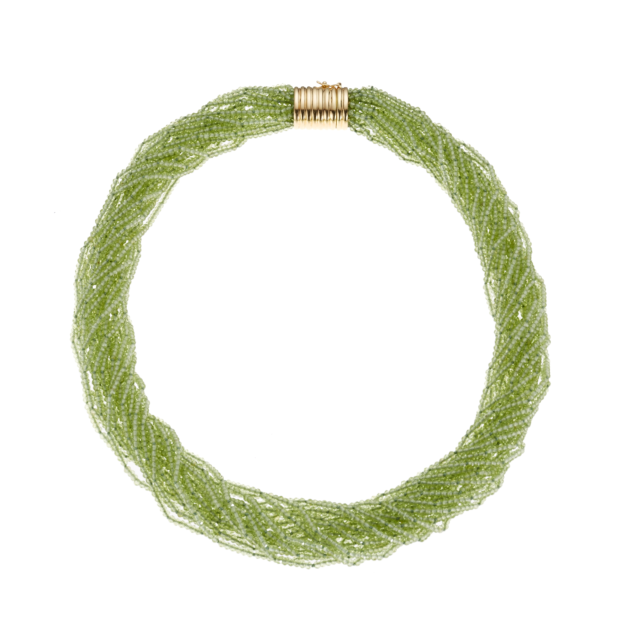 Gump's  Twenty Strand Faceted Peridot Twist Necklace