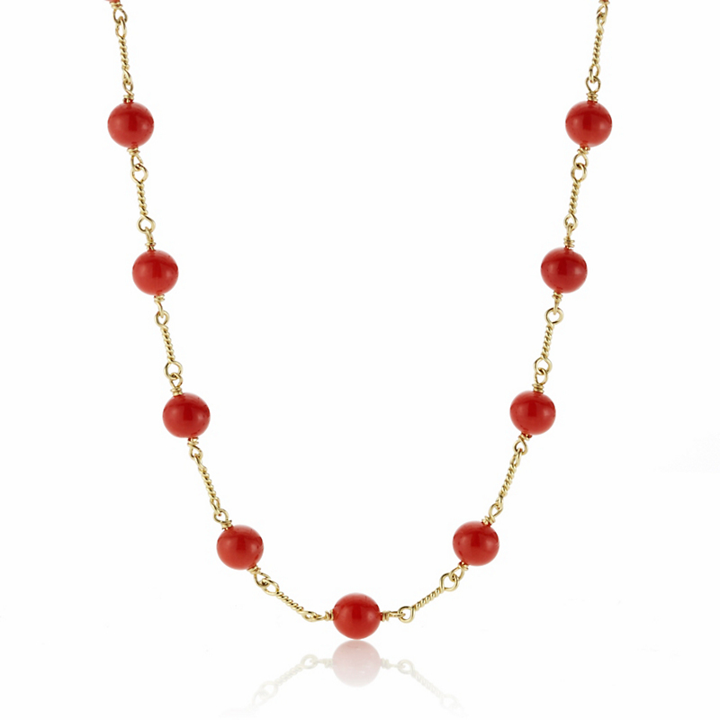 Red Coral Bead Long Chain Necklace