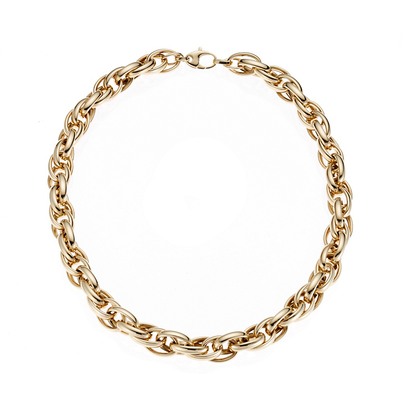 Gold Twisted Oval Link Necklace