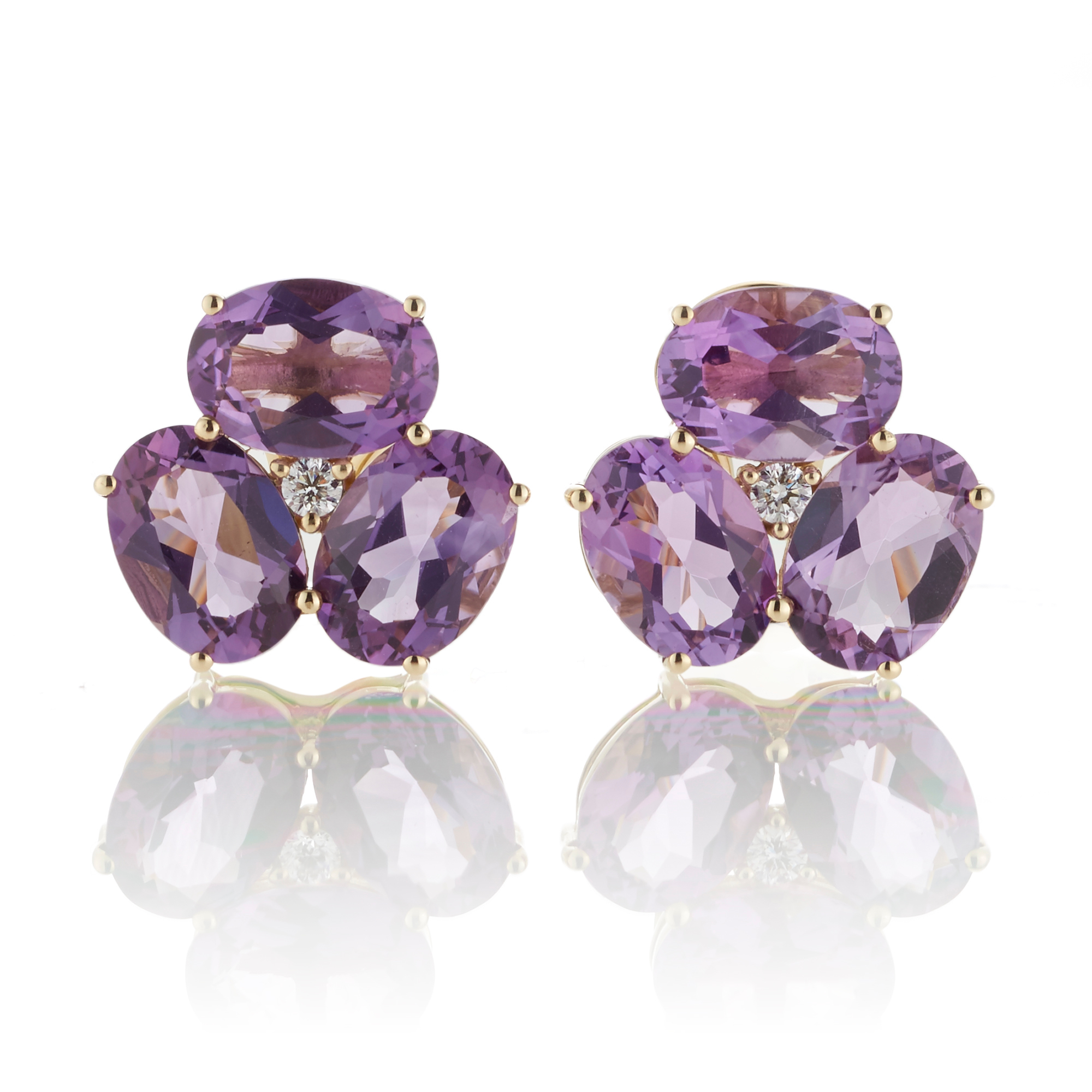Gump's Faceted Amethyst& Diamond Cluster Earrings