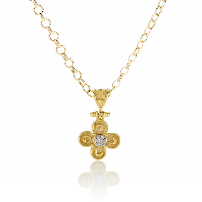 Diamond and Gold Cross Charm