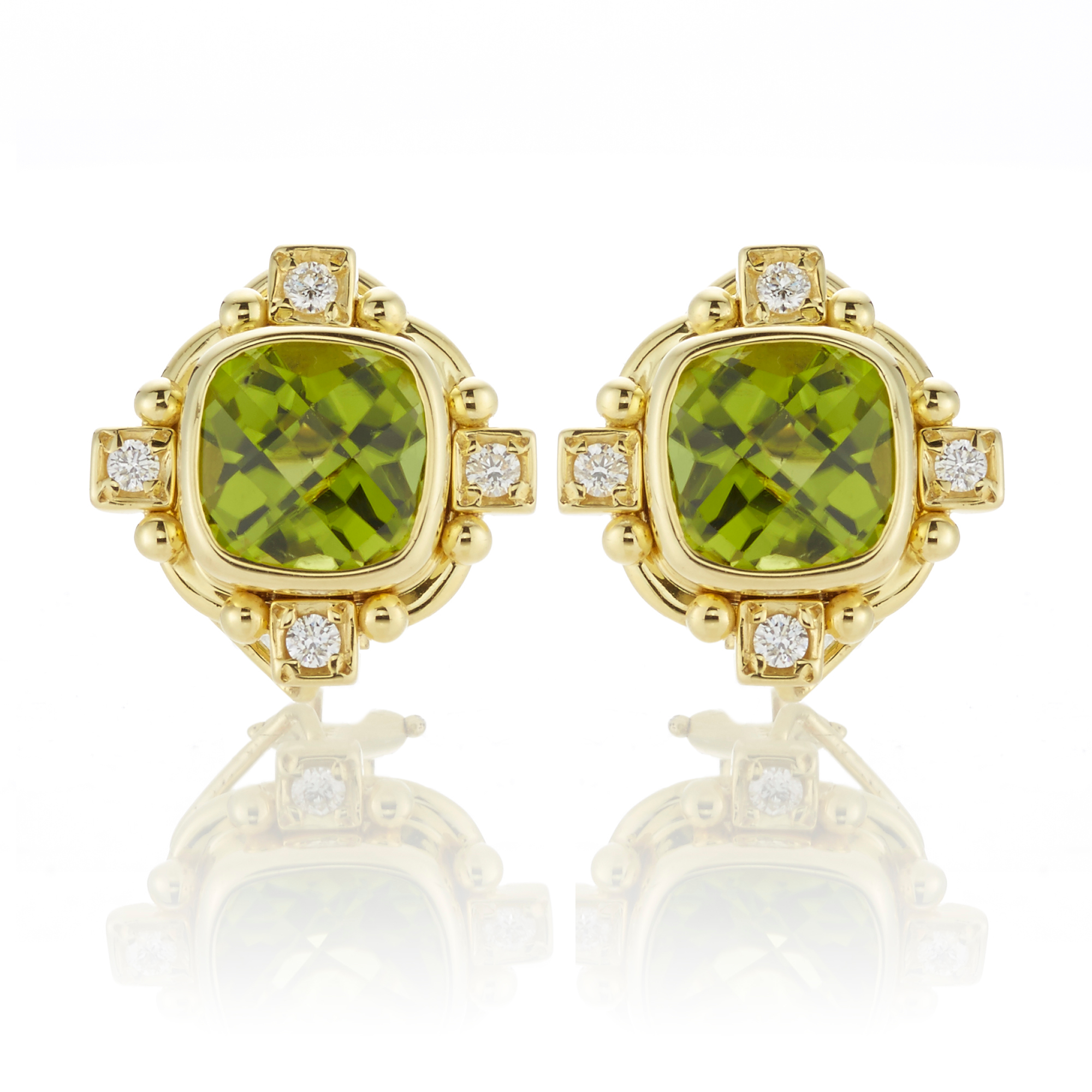 Peridot and Diamond Four Point Earrings