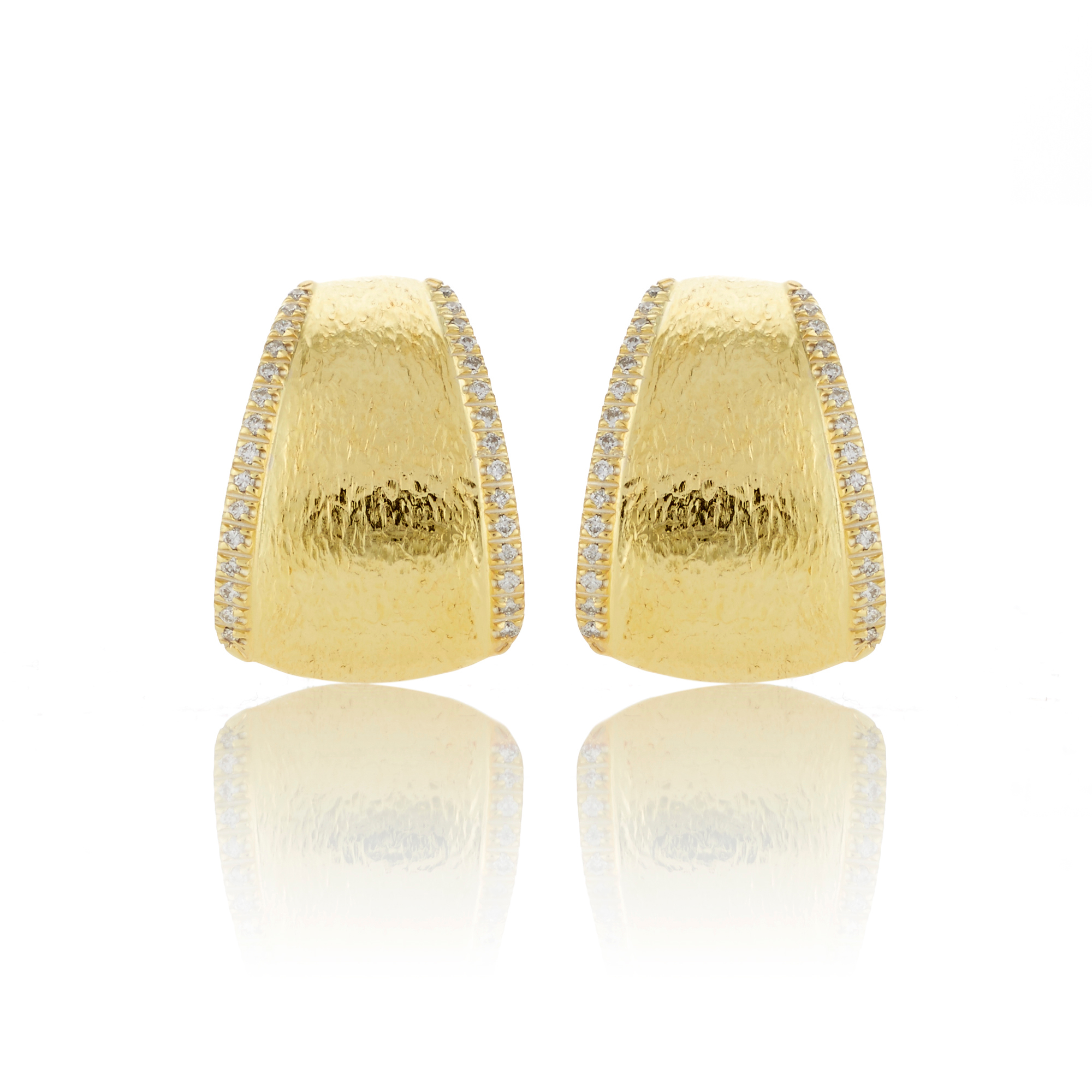 Hammered Gold and Diamond Cuff Earrings