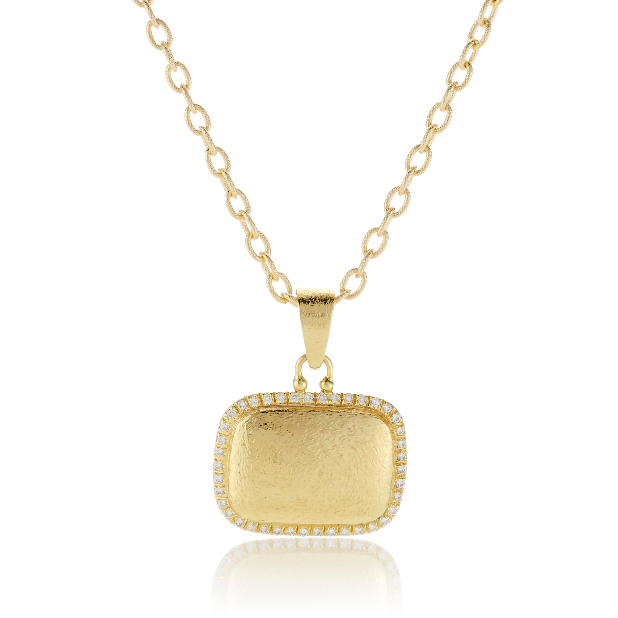 Hammered Gold and Diamond Square Pendant