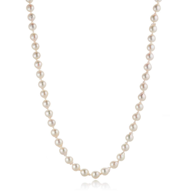 Gump's White Akoya Pearl Necklace With Diamond Clasp