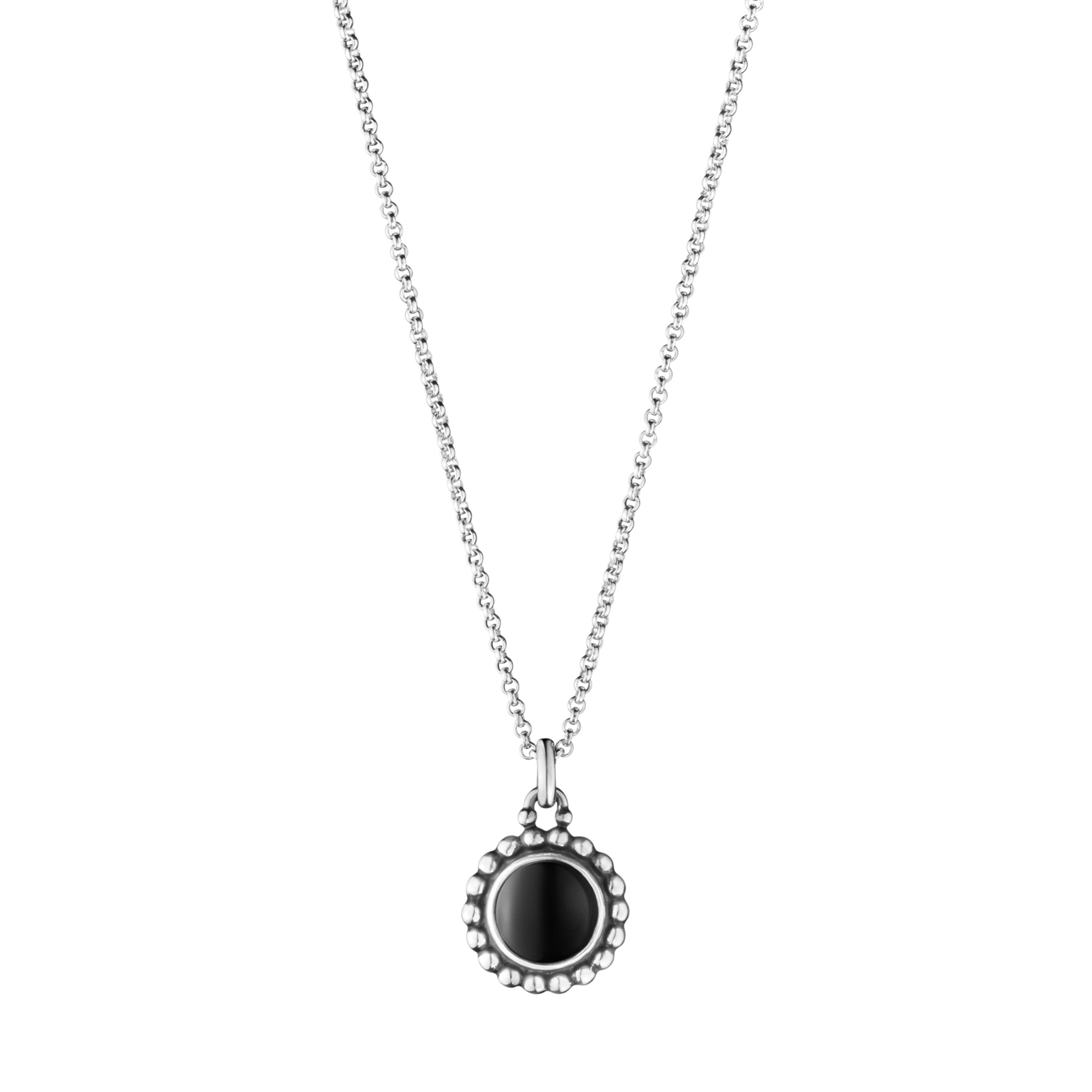 Georg Jensen Moonlight Blossom Oxidized Sterling Silver & Black Agate Pendant Necklace