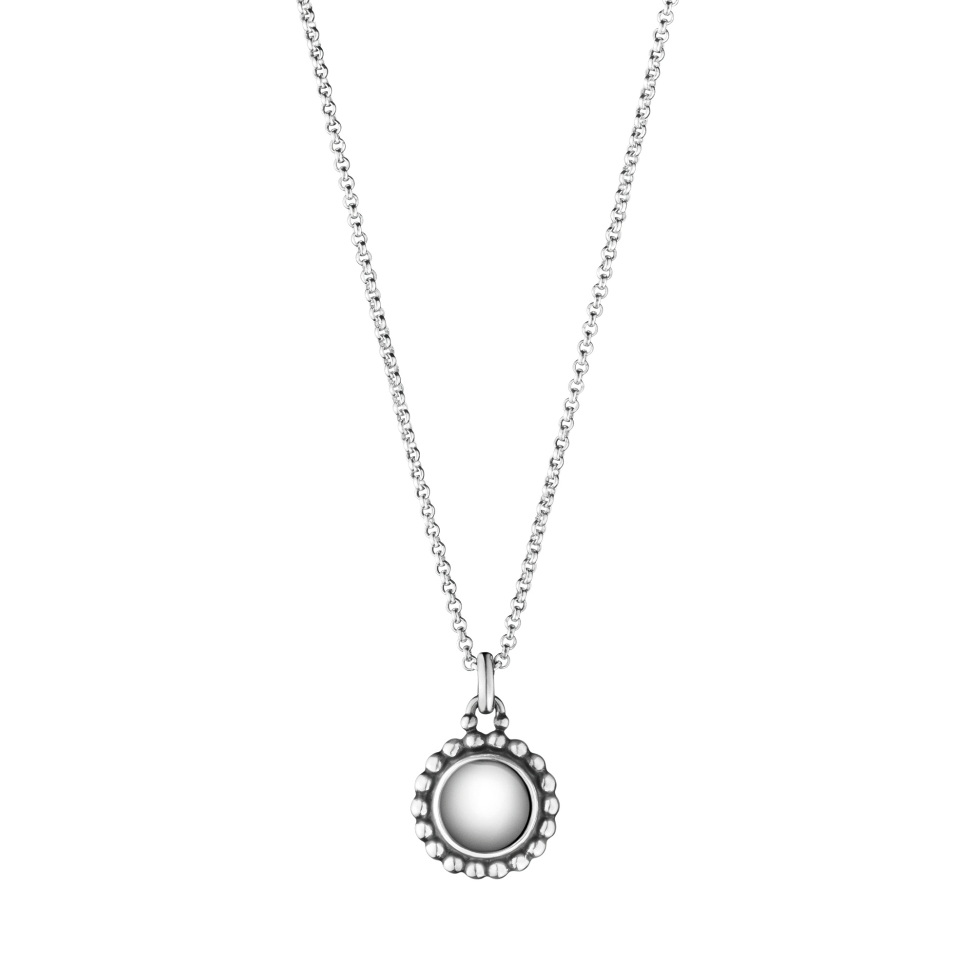 Georg Jensen Moonlight Blossom Oxidized Sterling Silver Stone Pendant Necklace
