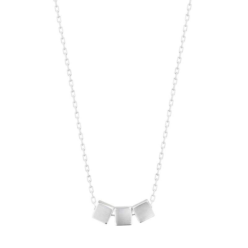 Georg Jensen Aria Three Square Sterling Silver Pendant Necklace