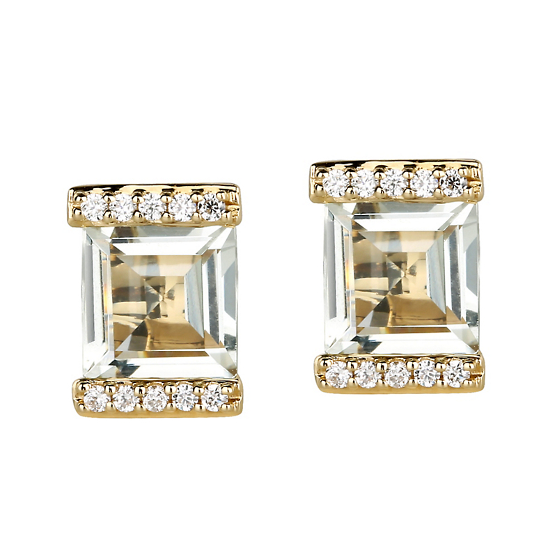 Jane Taylor Green Quartz & Pavé Diamond Square Stud Earrings