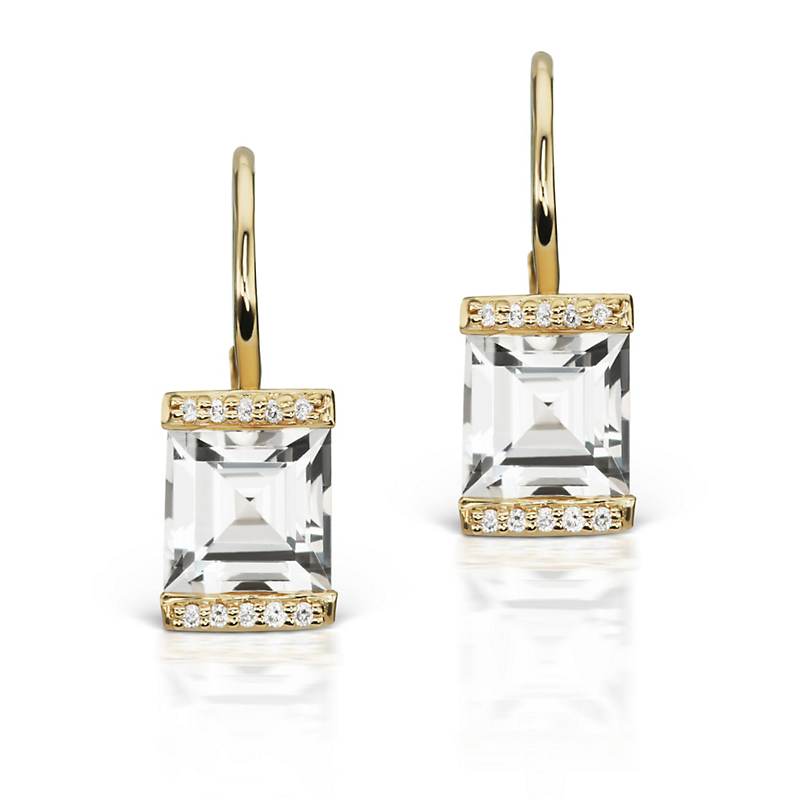 Jane Taylor White Topaz & Pavé Diamond Square Drop Earrings