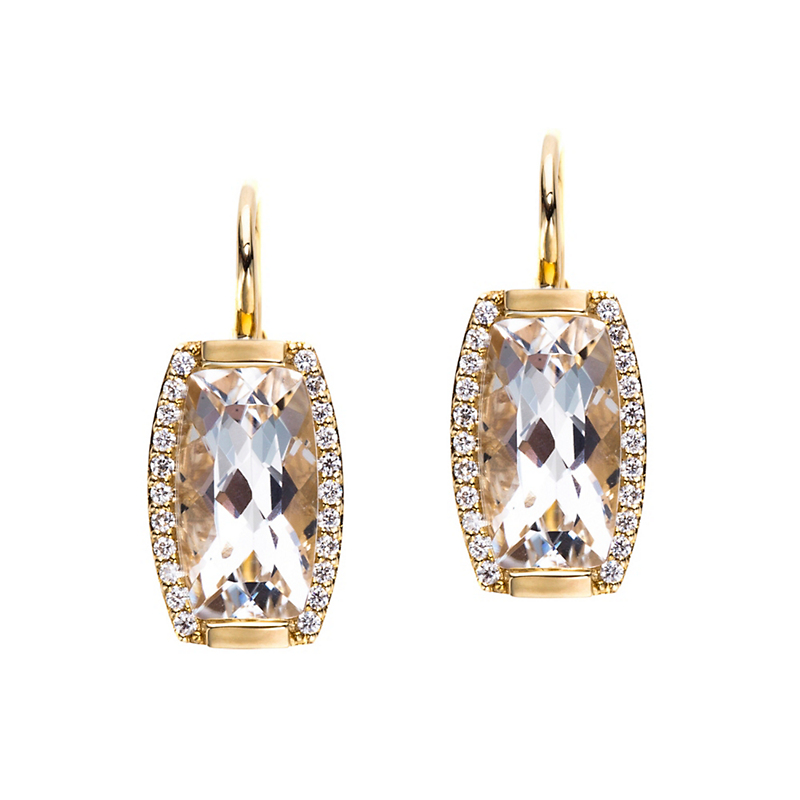 Jane Taylor White Quartz & Diamond Drop Tonneau Earrings