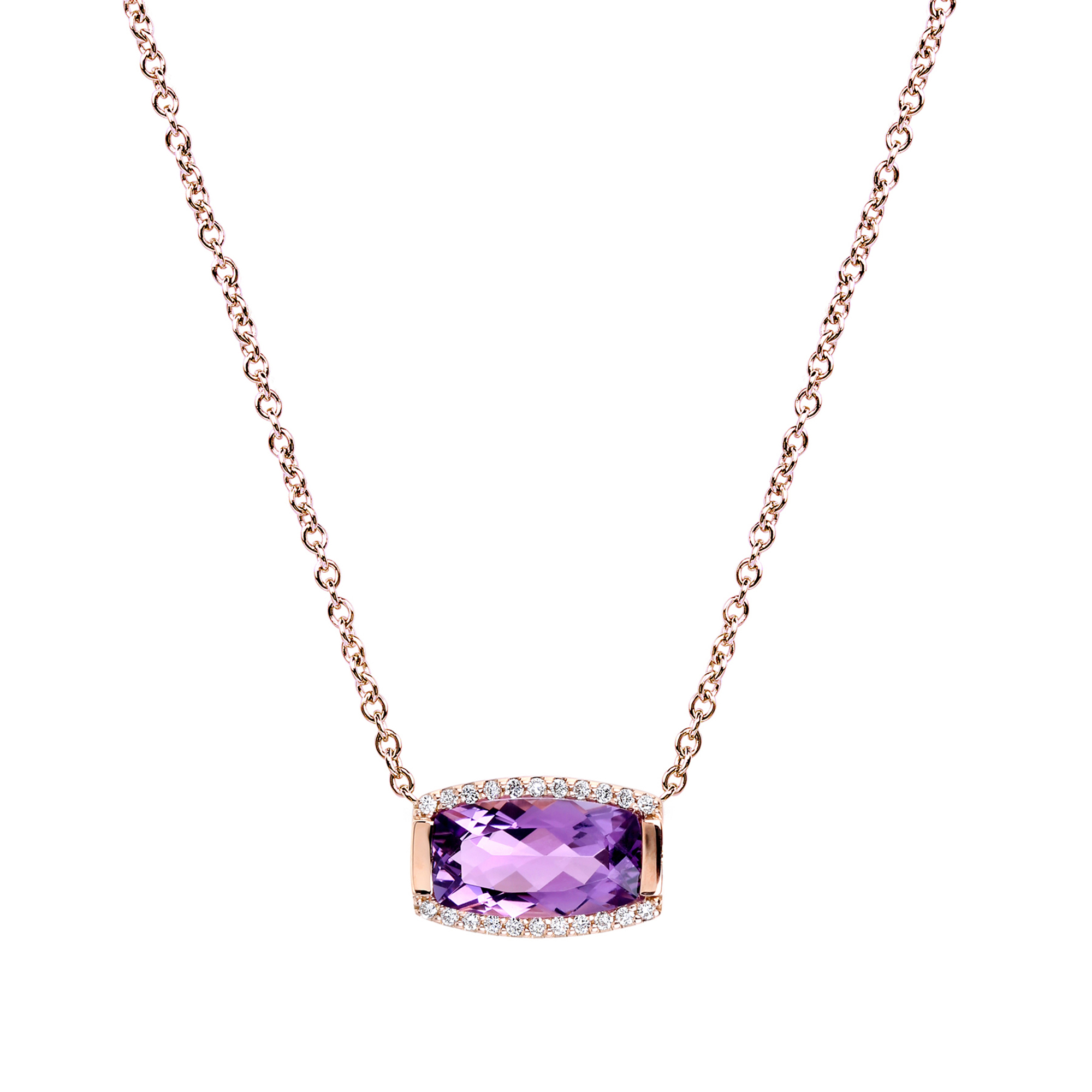 Jane Taylor Amethyst & Pavé Diamond Tonneau Necklace