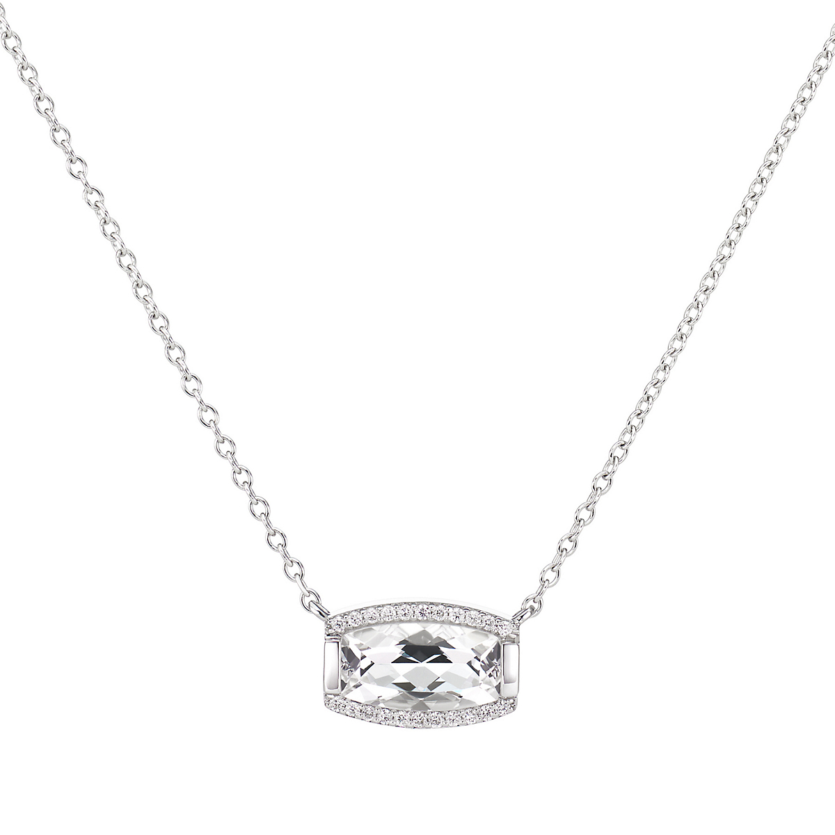 Jane Taylor White Quartz & Pavé Diamond Tonneau Necklace