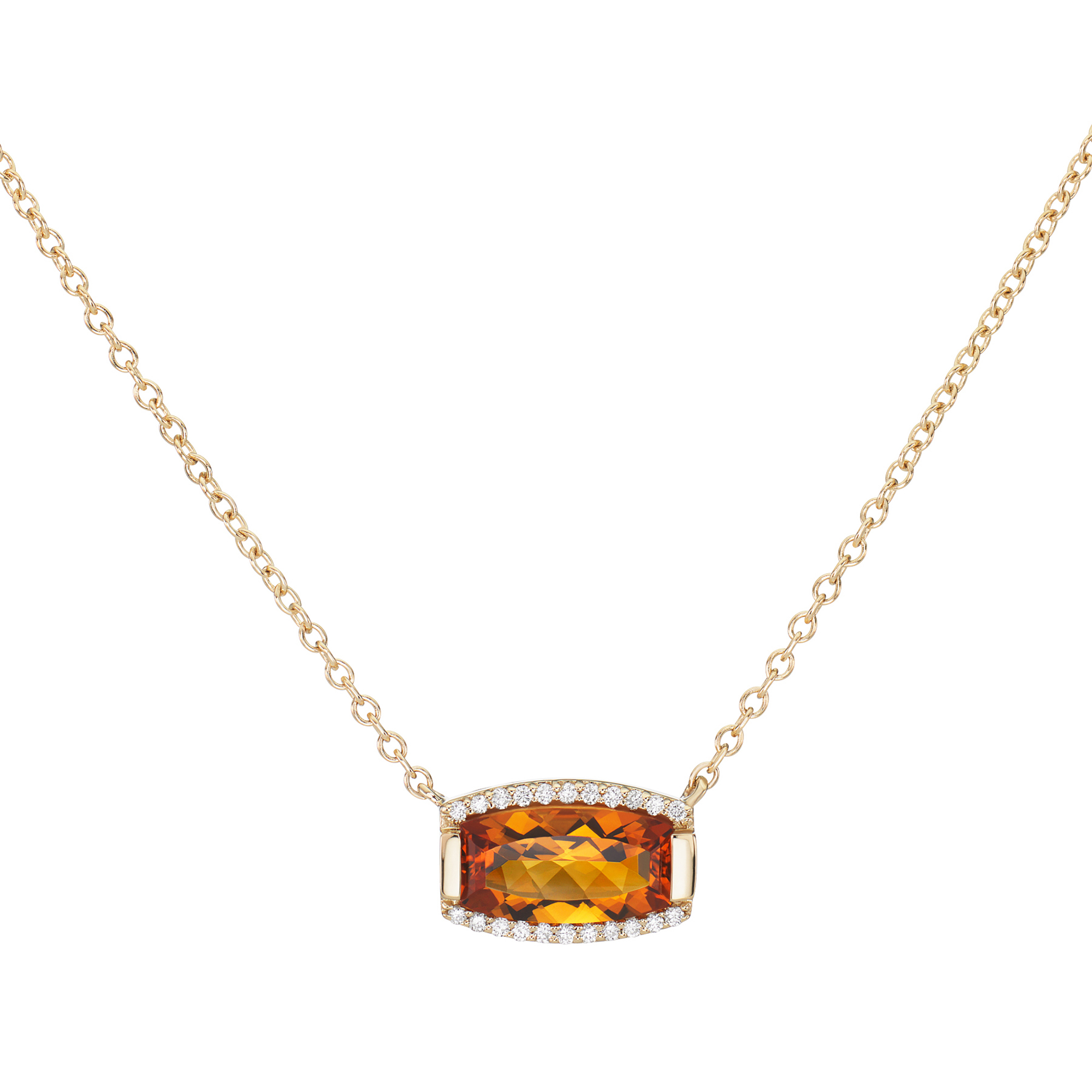Jane Taylor Citrine & Pavé Diamond Tonneau Necklace