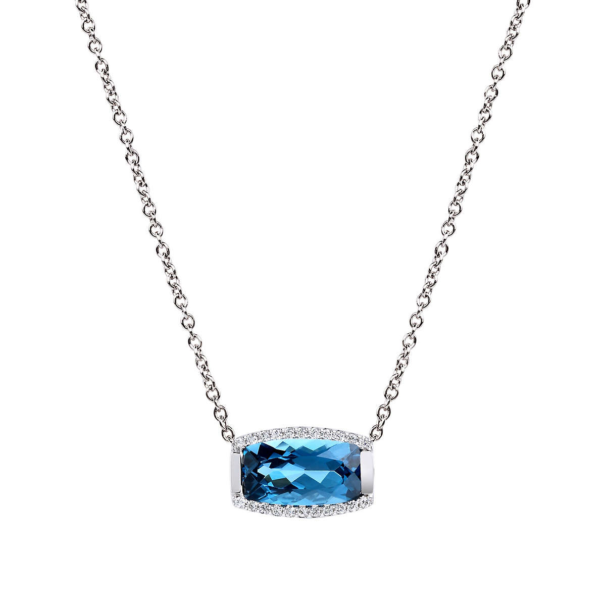 Jane Taylor London Blue Topaz & Pavé Diamond Tonneau Necklace