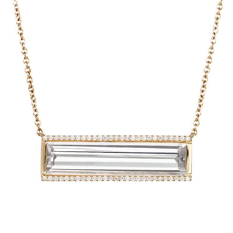 Jane Taylor White Topaz & Pavé Diamond Horizontal Bar Necklace